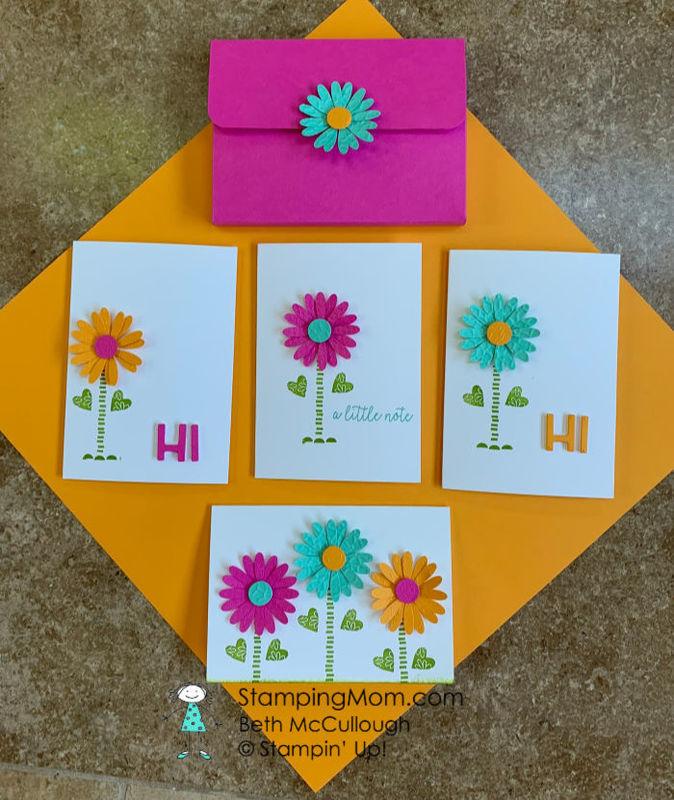 Bright   happy daisy notecard set
