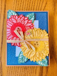 Sunflowers gatefold card closed