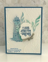 Fun card with the sailing home stamp set and the new seabed 3d embossing folder