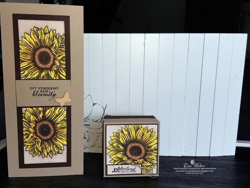 Slanke kaart met doosje en zonnebloem