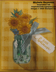 Jar of flowers sunflower shaker card
