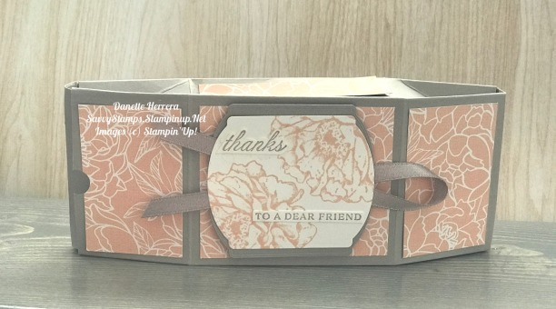 Unique double faceted box with the peony garden designer series paper