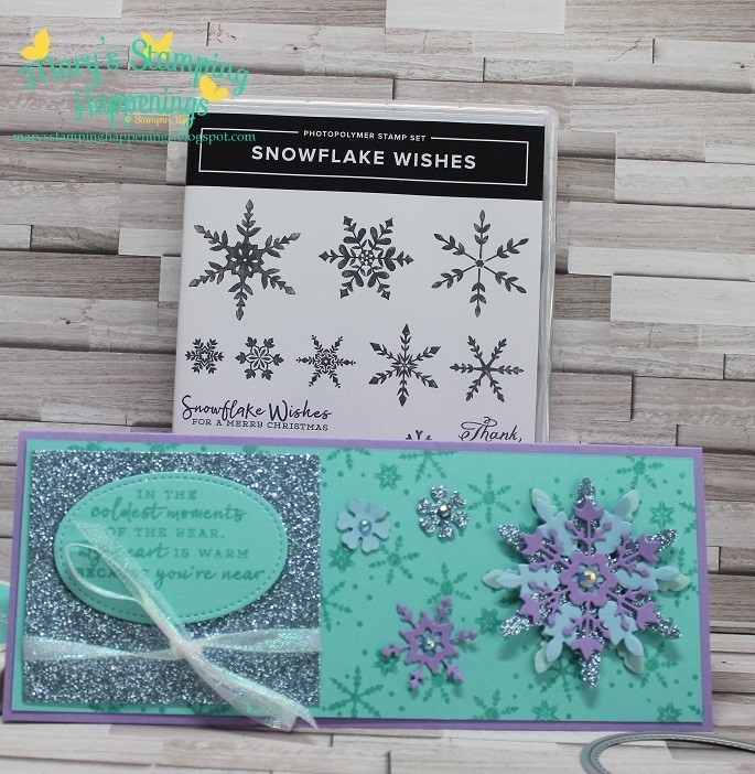 August special class slimline snowflake wishes card 1