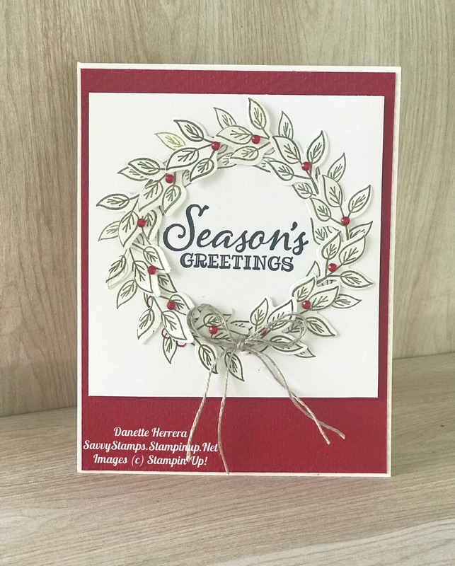 Seasons greetings with the bloom   grow and peaceful boughs stamp sets