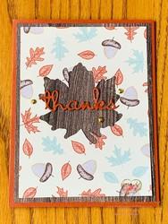 Gilded autumn thanks card