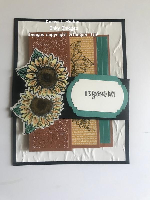 Accordian fold sunflower card 1