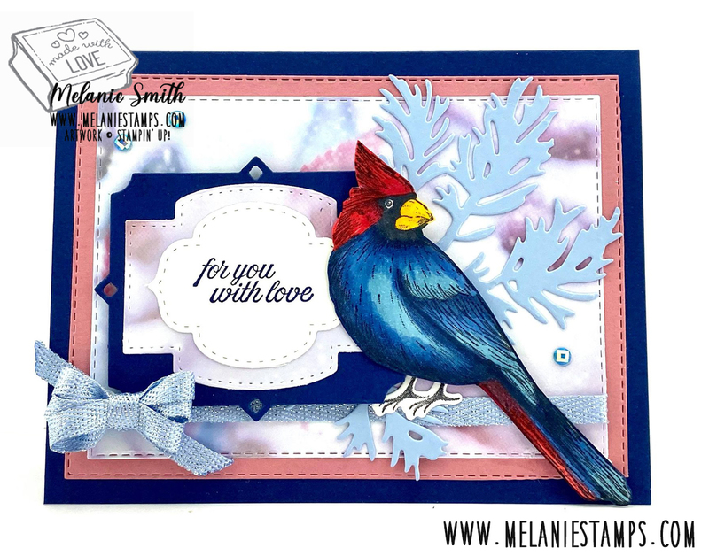 Cardinal toile christmas coloring stampin blends melanie smith melaniestamps stampin up 3