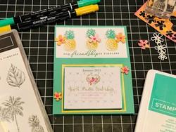 Timeless tropical mini calendar   notepad easel
