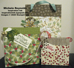 Poinsettia petals gift bag trio