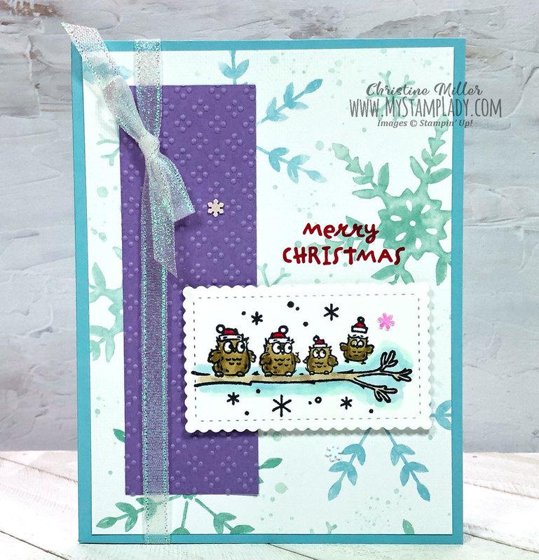 Owl christmas blue