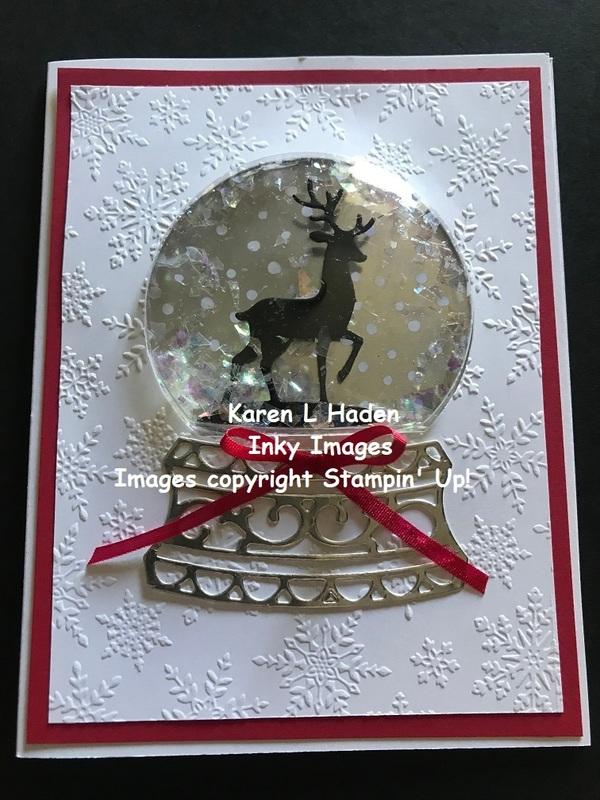 Reindeer snow globe card