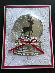 Reindeer snow globe card