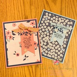 Paper blooms punch party card duo