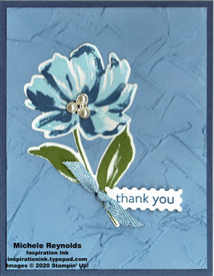 Art gallery frosted blue flower watermark