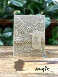 Pearlescent seashell embossed card