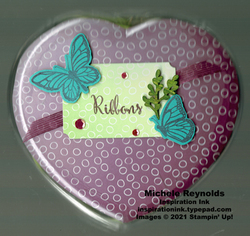 Floating   fluttering ribbon heart watermark