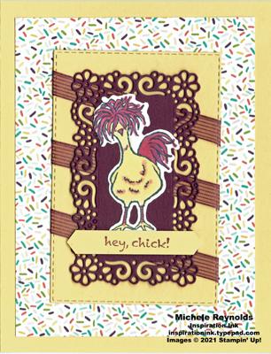 Hey chick diagonal ribbons watermark