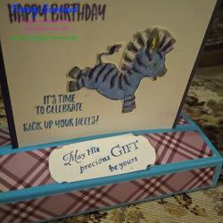 Free standing pop up card with zany zebra