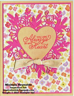 Always in my heart pink papaya floral watermark
