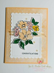 Hand penned sweet pale papaya congratulations card