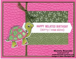 Turtle friends slow pink turtle stamped version watermark