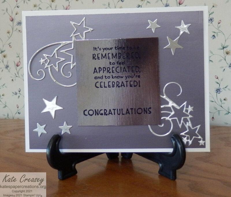 Stitched stars graduation card
