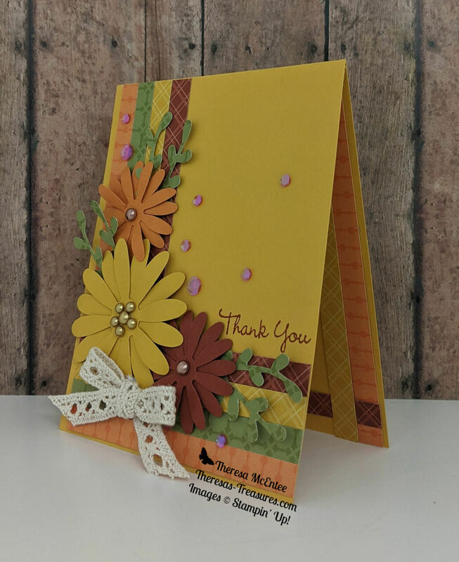 Stampin up daisy punch fall thank you wide tilt l wm