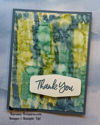 Stampin up sweet ice cream thank you alcohol technique blues and greens