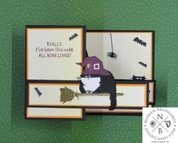 How to make a z fold card with stampin  up  clever cats halloween tutorial   2
