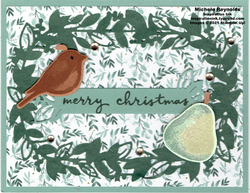 Birds   branches partridge in a pear wreath watermark