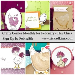 February 2021 crafty corner hey chick card class