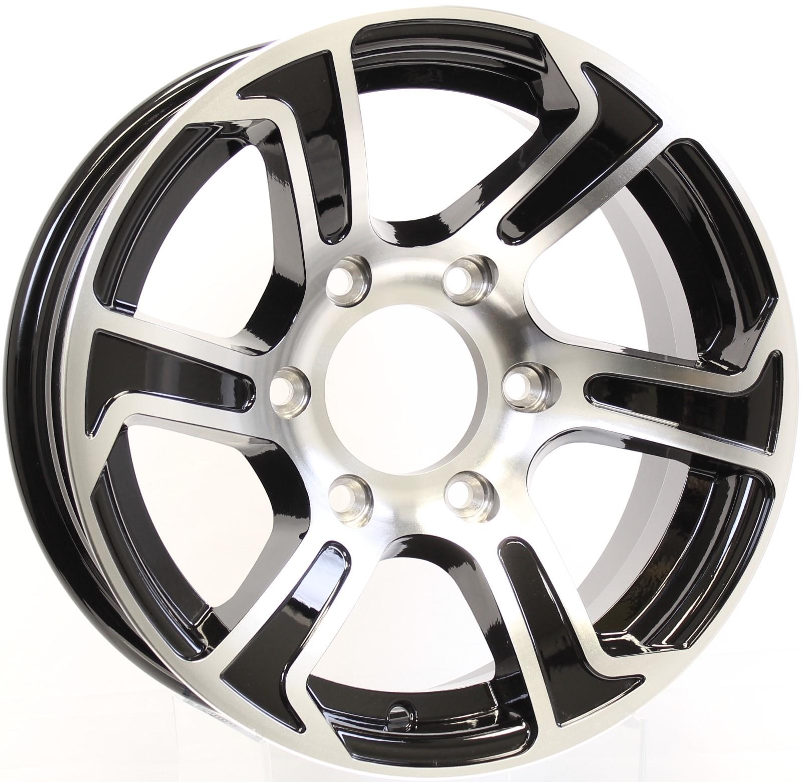 Summit- 15x6 6-5.5 Black Aluminum Trailer Wheel Image