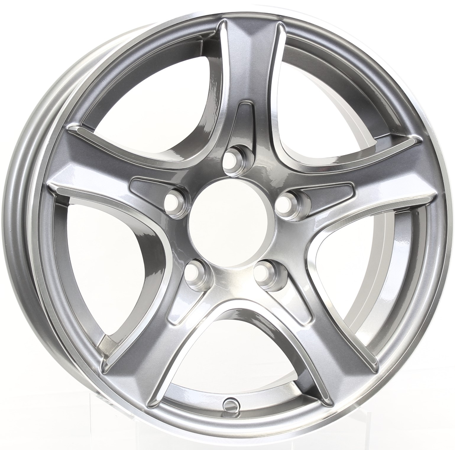 Thoroughbred 14x5.5 5-4.5 Gunmetal Aluminum Trailer Wheel Image