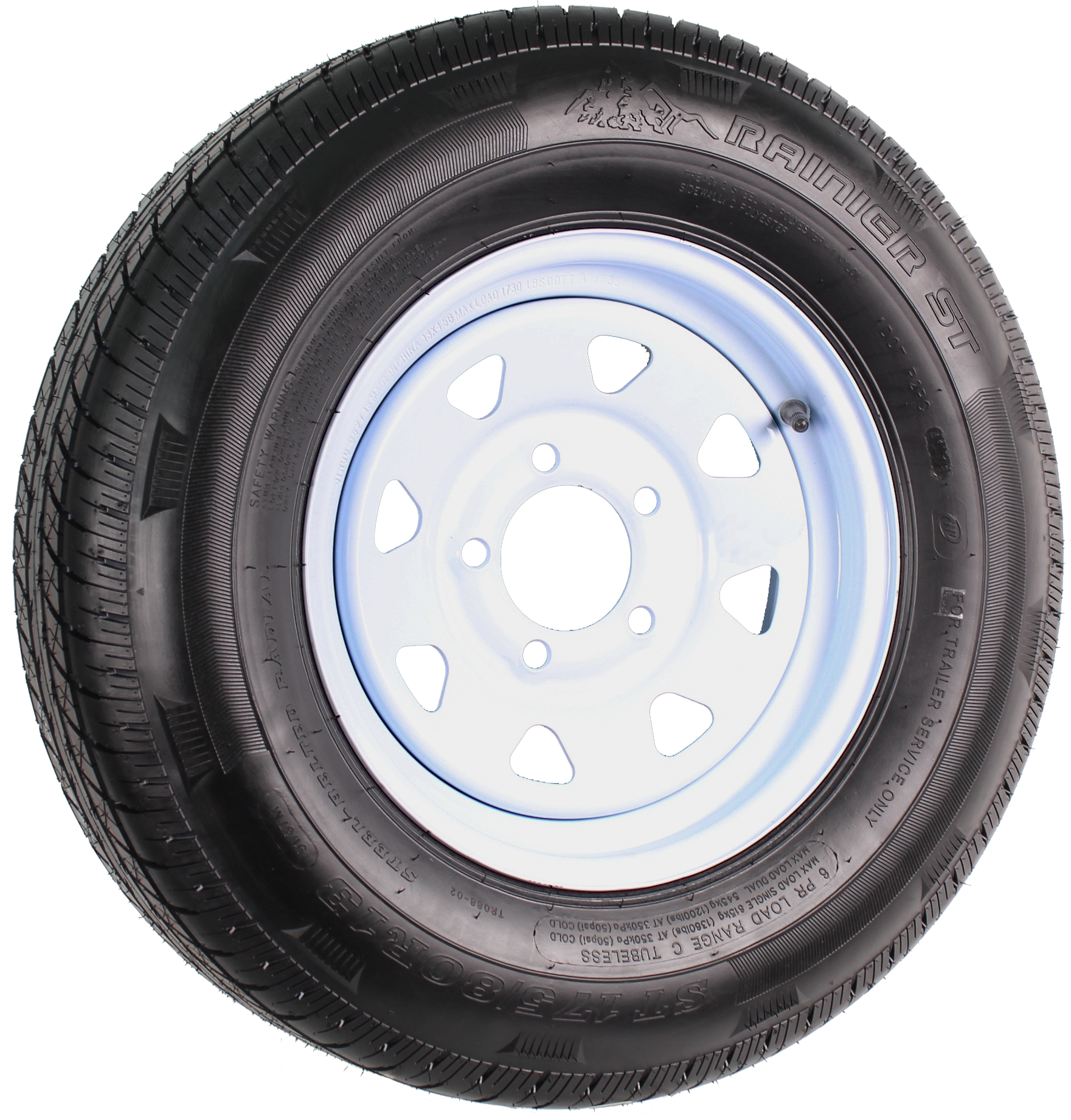 "Rainier ST175/80R13 LRC Radial on 13"" 5-Lug White Spoke Assembly Image"