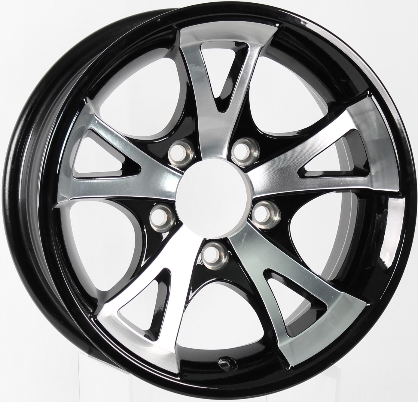 A1411- 13x5 5-4.5 Black Aluminum Trailer Wheel Image