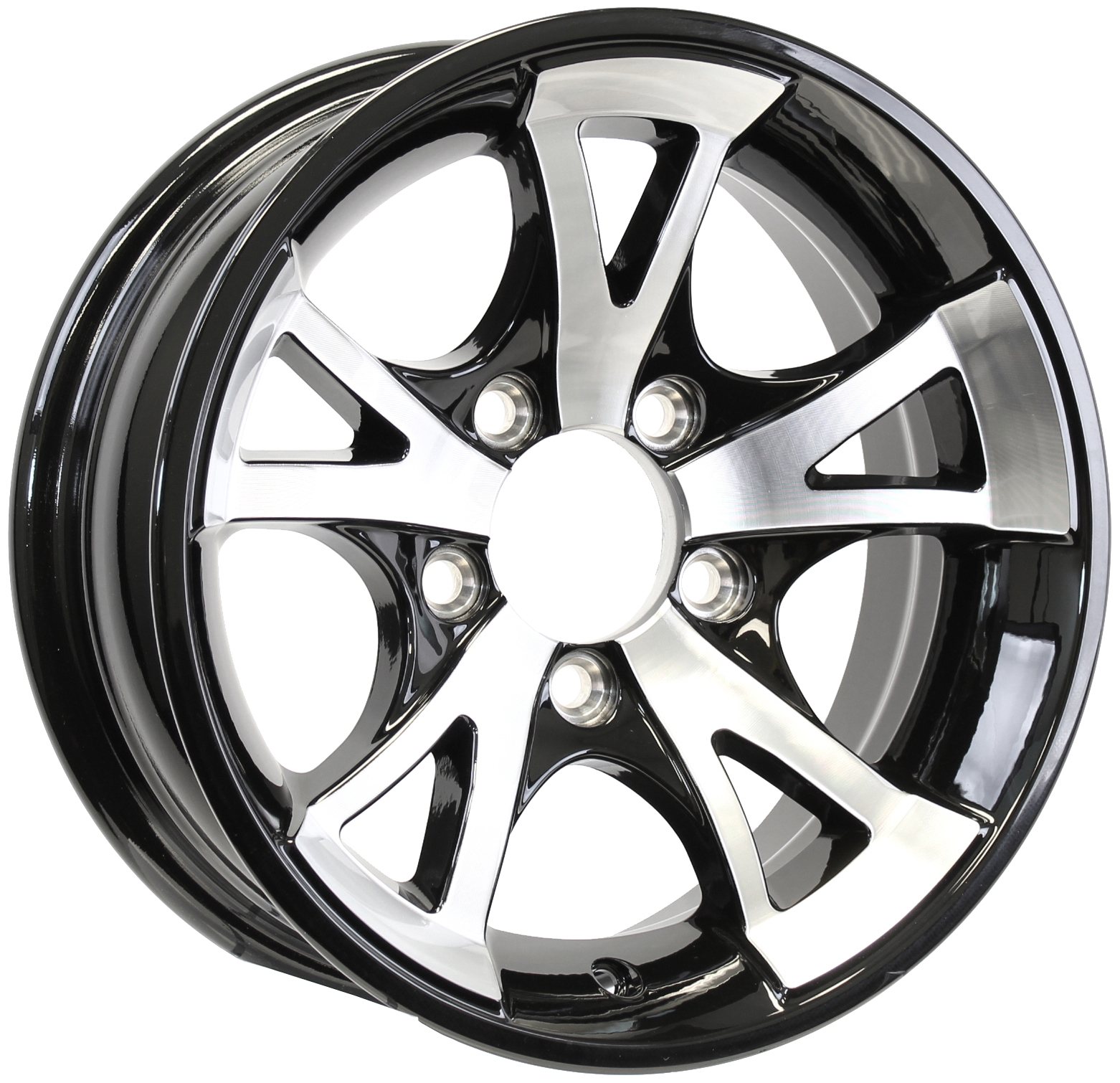 A1411- 14x5.5 5-4.5 Black Aluminum Trailer Wheel Image