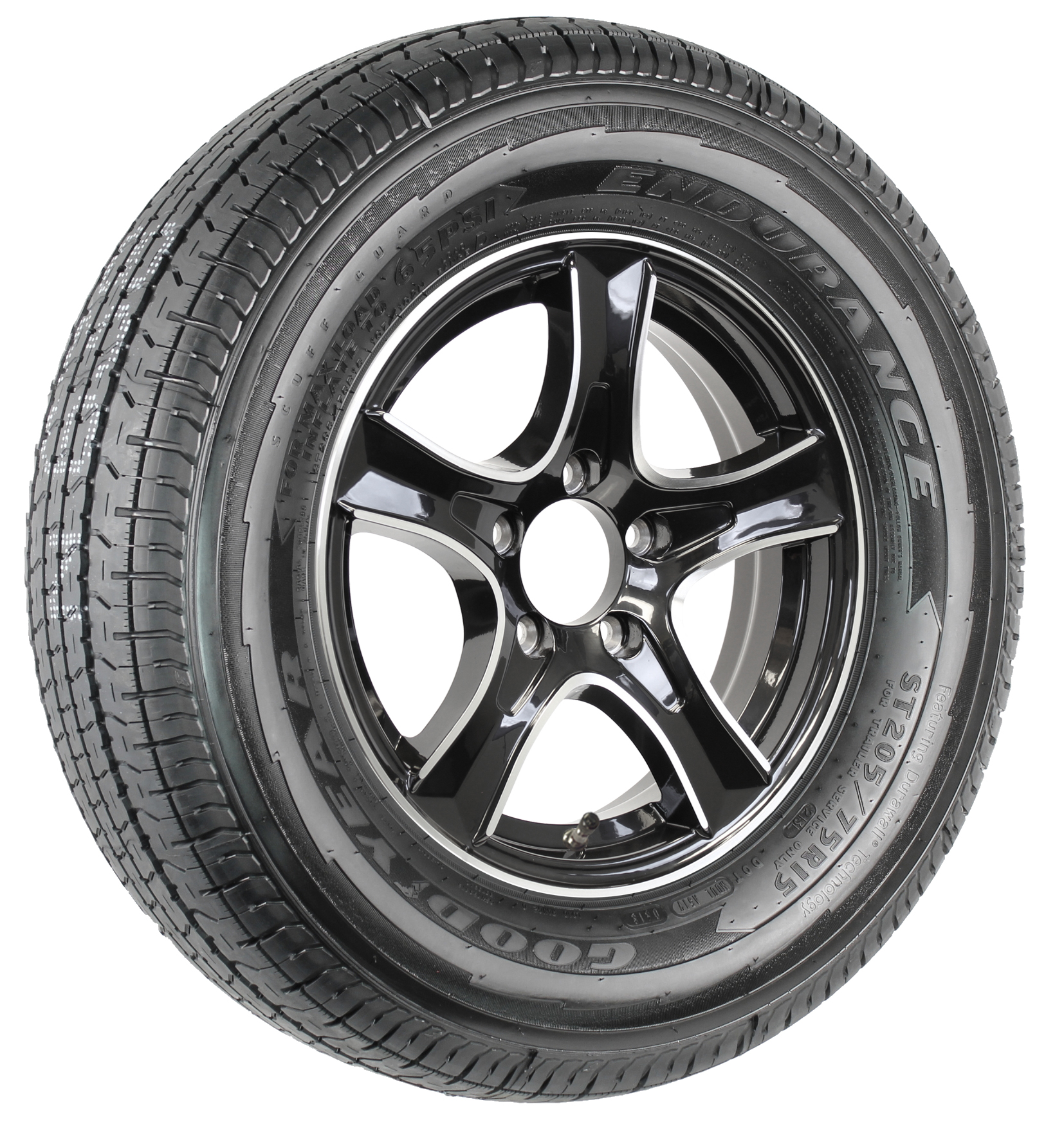"Goodyear Endurance ST205/75R15 LRD on Thoroughbred 15"" 5-Lug Black Aluminum Assembly Image"