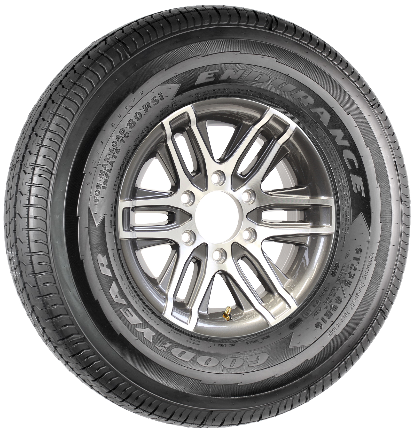 "Goodyear Endurance ST235/85R16 LRE on 16"" 6-5.5 Altitude Gun Metal Aluminum Wheel Image"