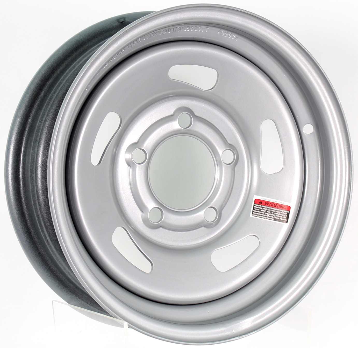 13x4.5 5-4.5 Silver Directional Steel Trailer Wheel Image