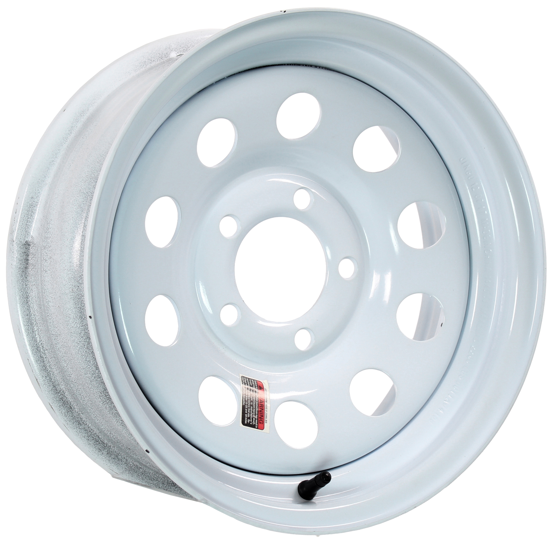 14x5.5 5-Lug White Mod Steel Trailer Wheel Image