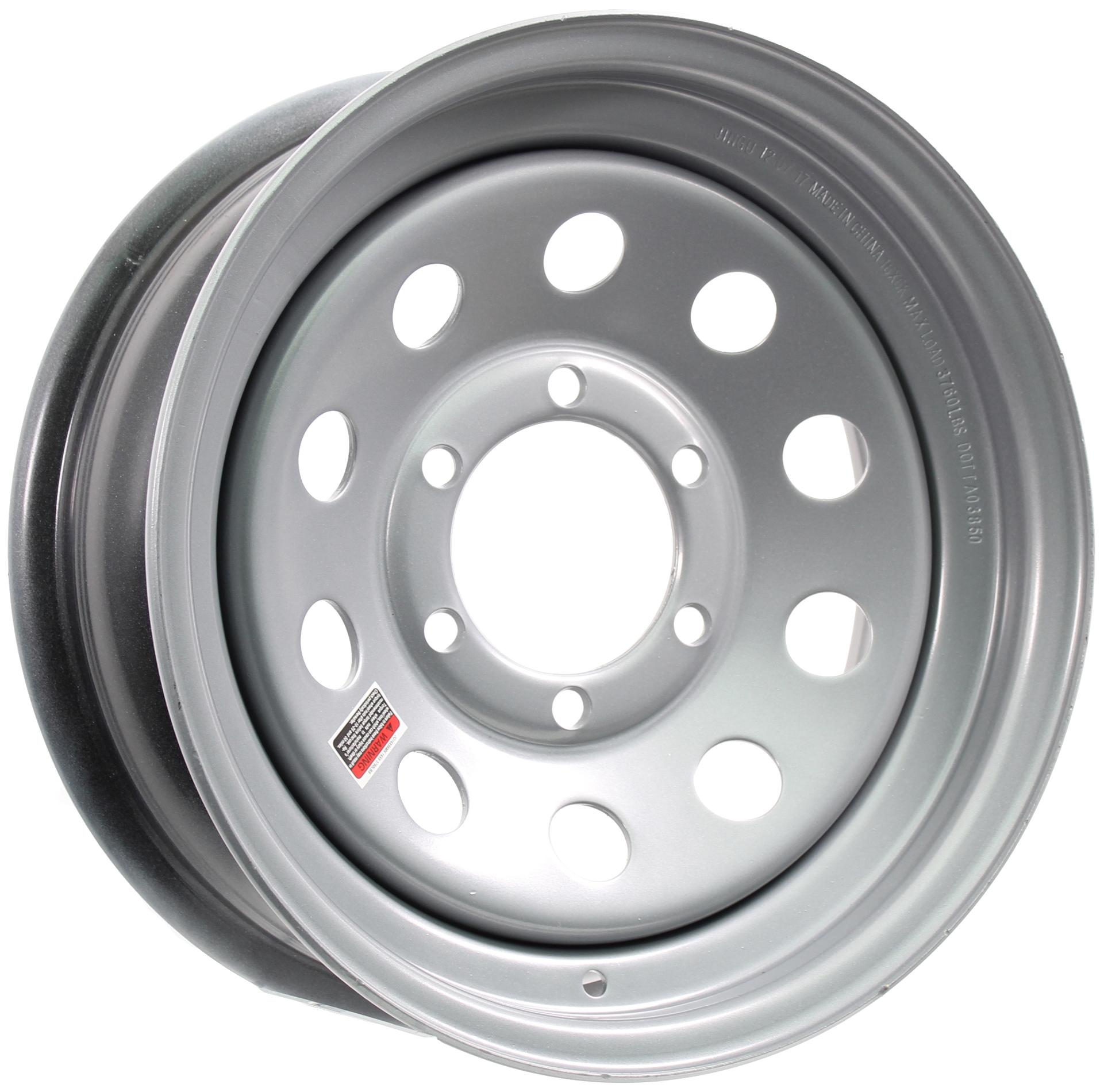16x6 6-Lug Silver Mod Steel Trailer Wheel Image