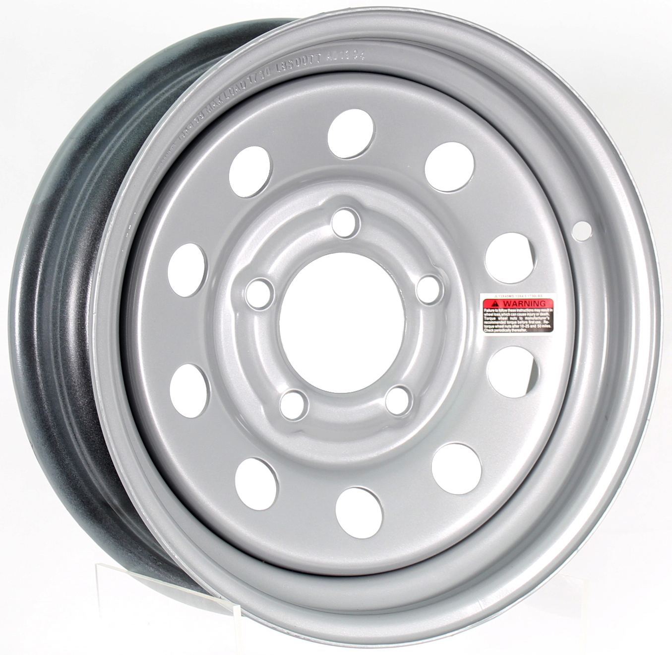12x4 5-Lug Silver Mod Steel Trailer Wheel Image