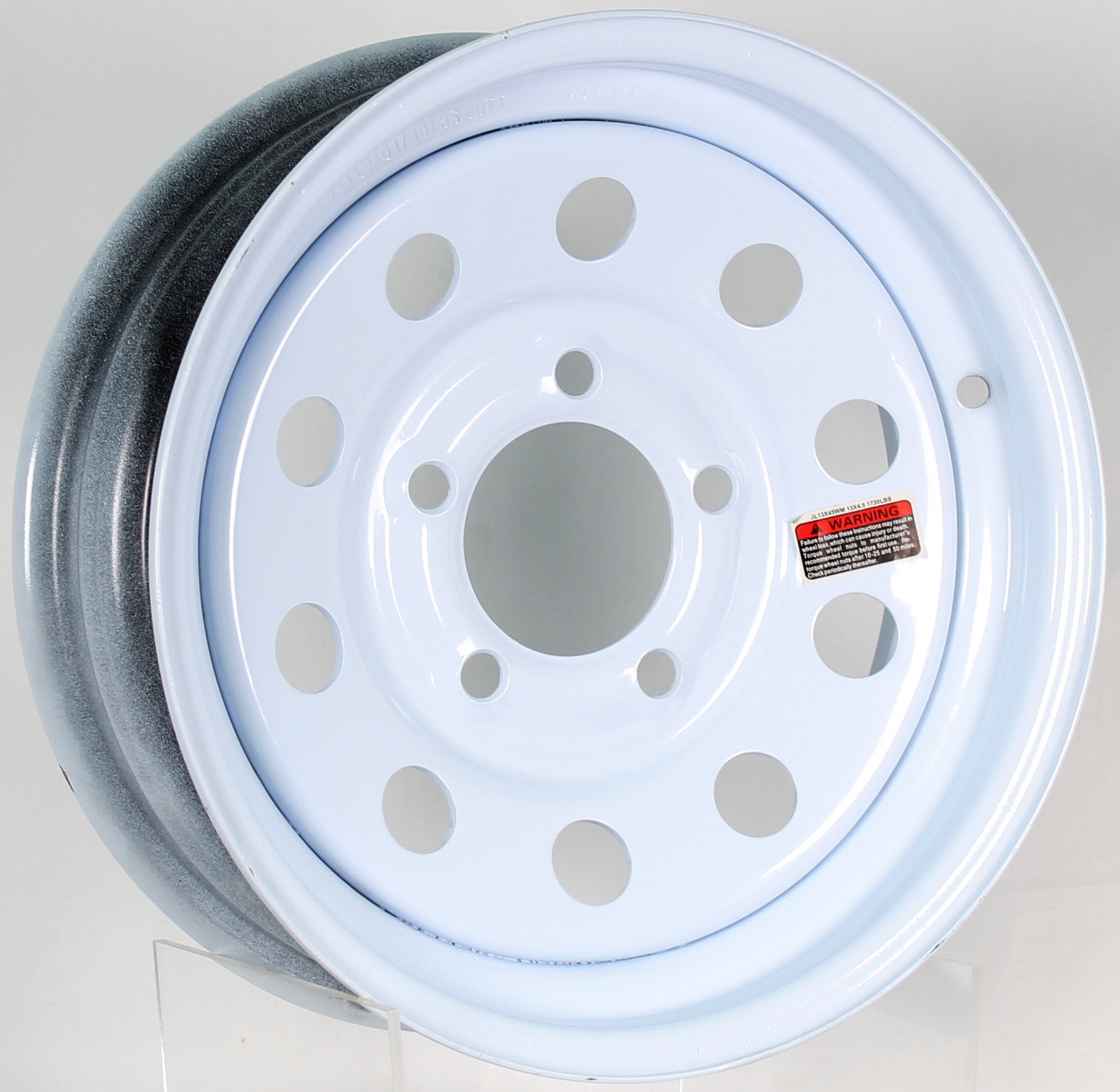 13x4.5 5-4.5 White Mod Steel Trailer Wheel Image