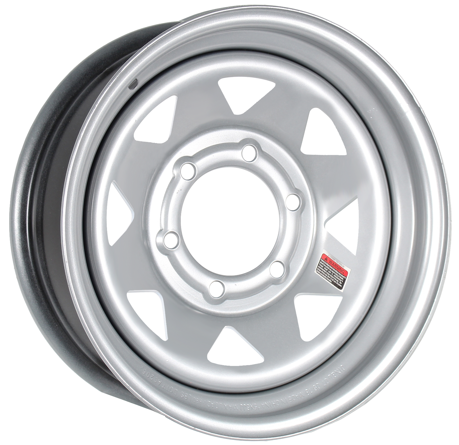 15x6 6-5.5 Silver Spoke Steel Trailer Wheel Image