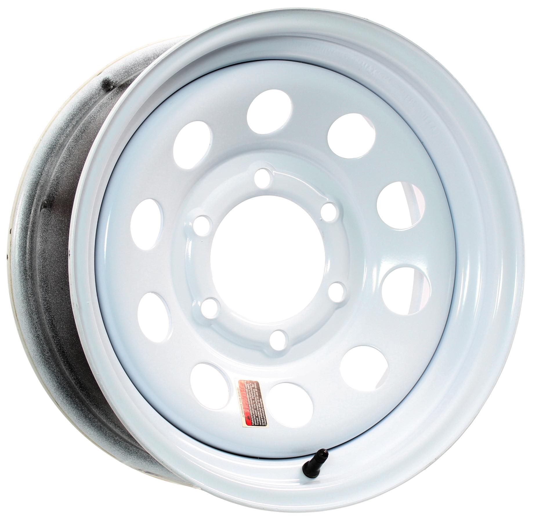 15x6 6-Lug White Mod Steel Trailer Wheel Image