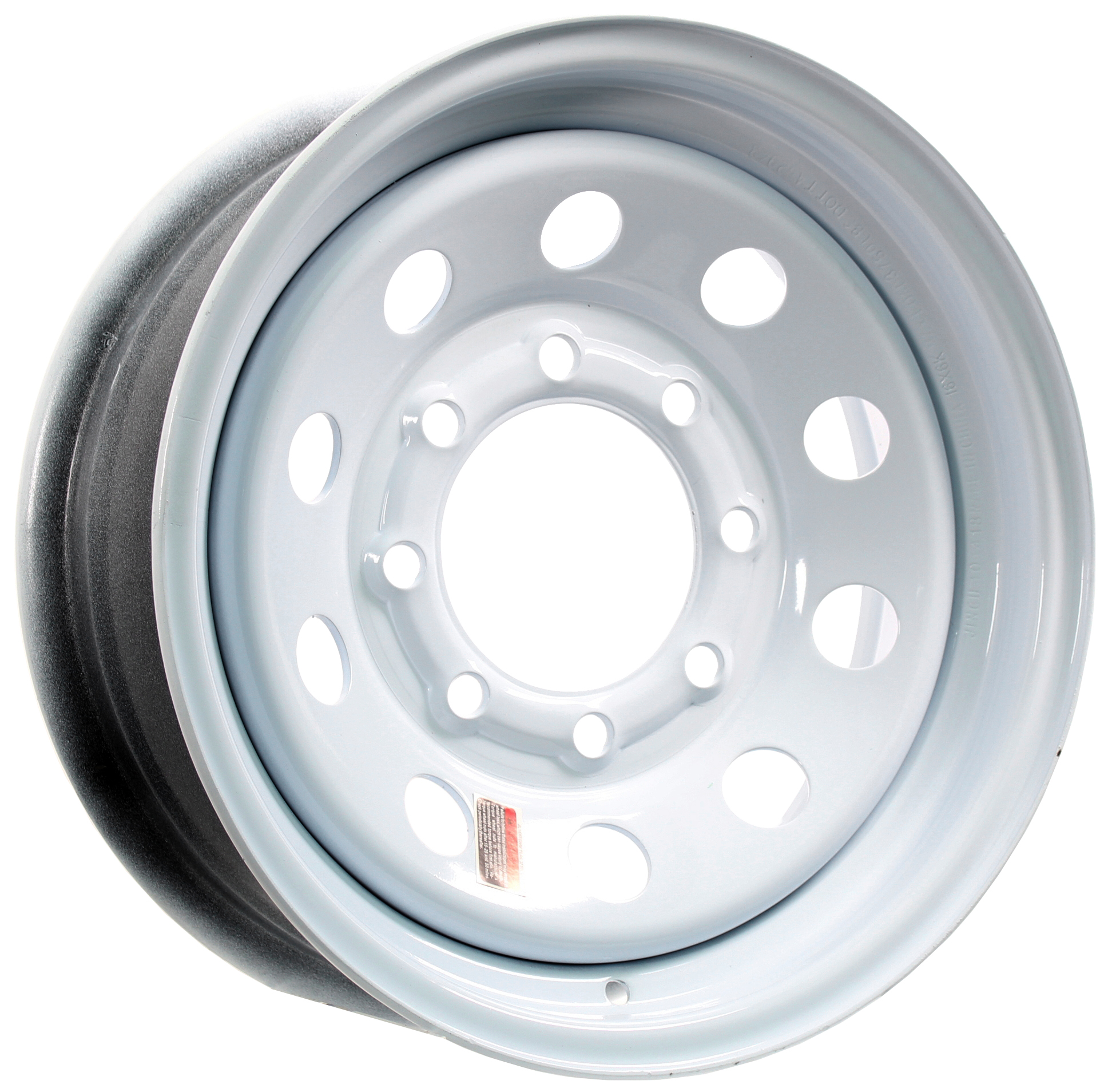 16x6 8-Lug White Mod Steel Trailer Wheel Image