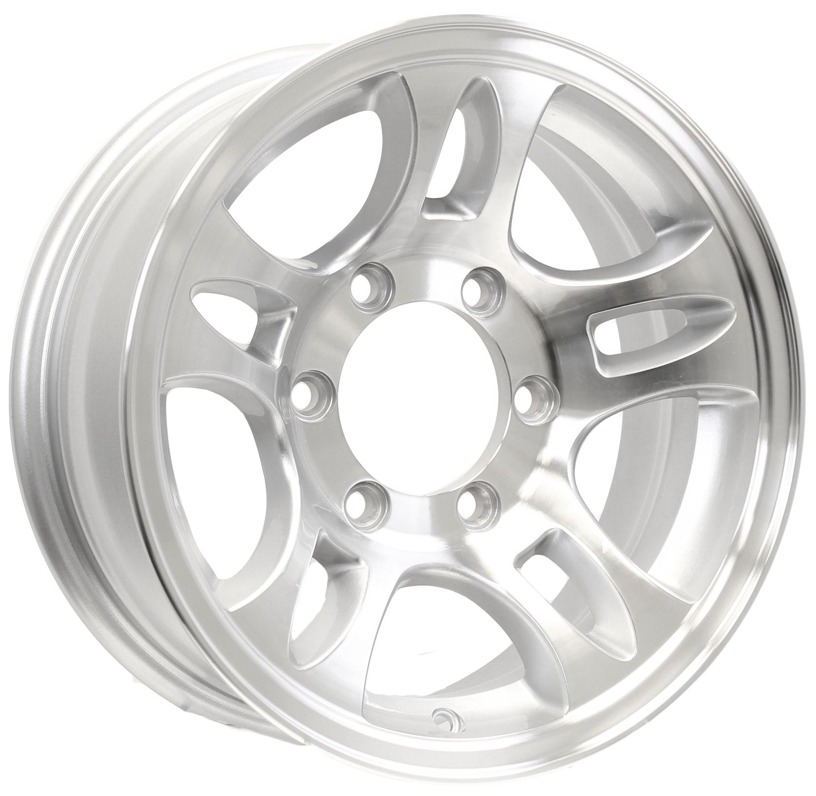 "T03 15"" 6-5.5 Silver Aluminum Trailer Wheel Image"