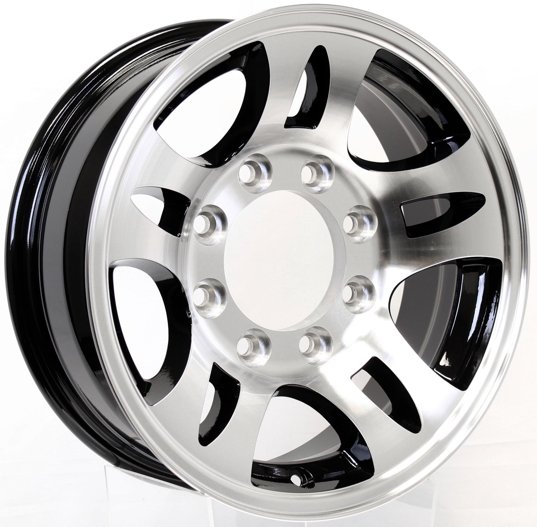 T03- 16x6 8-6.5 Black Inlay Aluminum Trailer Wheel  Image