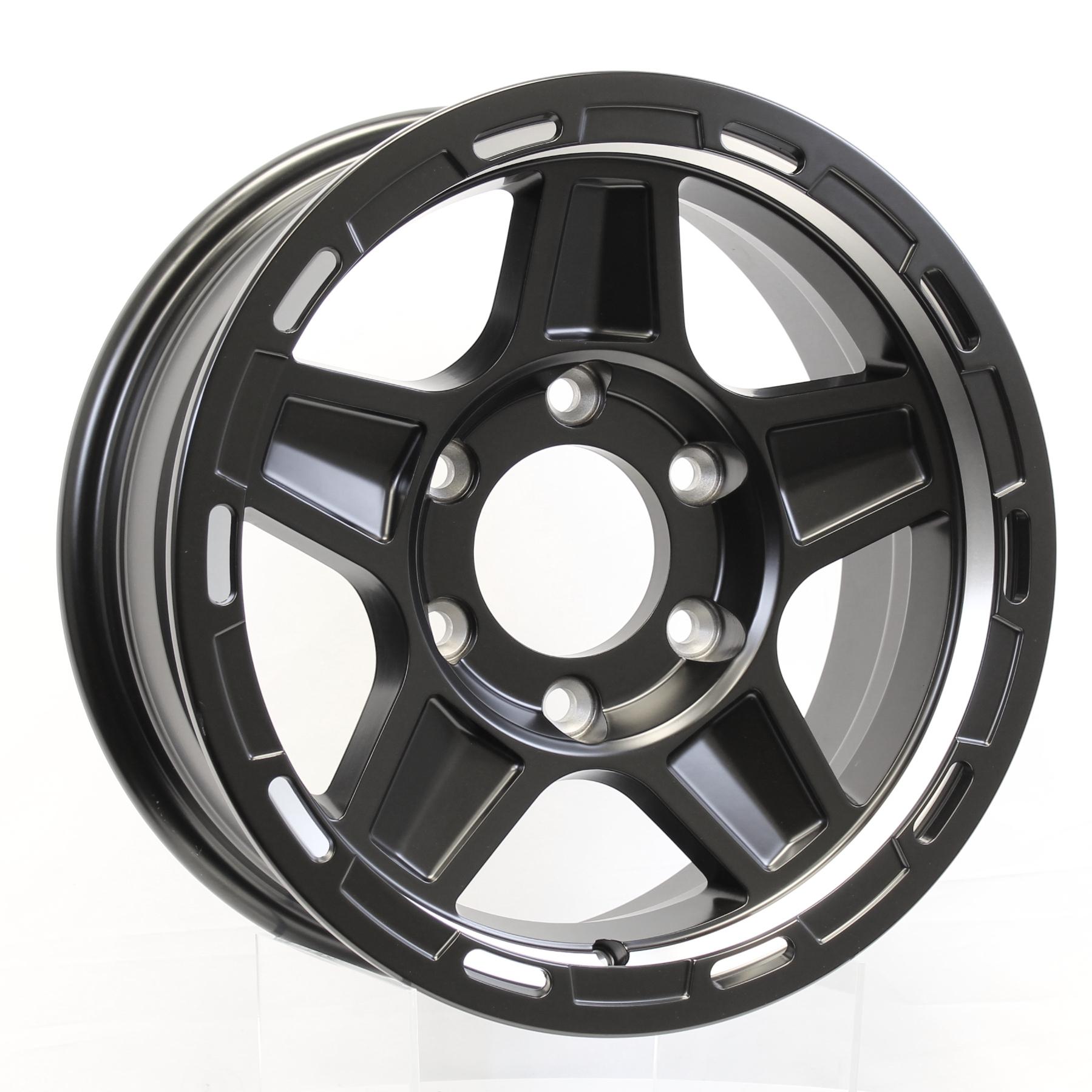 Hercules- 15x6 6-5.5 Matte Black-Full Paint Aluminum Trailer Wheel Image