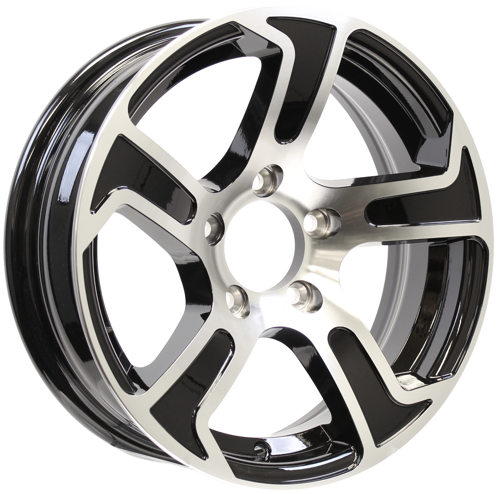 Summit- 15x5 5-4.5 Black Aluminum Trailer Wheel Image